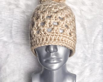 Cream Crochet Hat, Chunky Beige Crochet Beanie, Lacy Crochet Beanie with Pompom, Off White Winter Hat, Double Double Crochet Hat