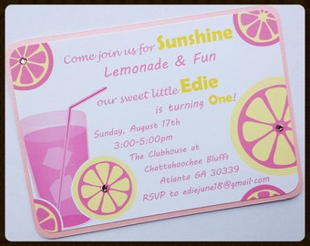 Pink Lemonade 1st Birthday Invitation