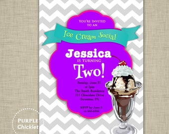 Ice Cream Party Invite 2nd Birthday Party Invitation Kids Ice Cream Party Invite Teal Pink Purple 5x7 Printable JPEG file  (102)
