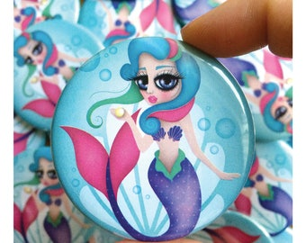 2.25 pinback button with my digital illustration, Mermaid