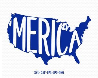 merica usa map svg, America flag svg, Fourth of July SVG, 4th of July Svg, Patriotic SVG, America Svg, Cricut, Silhouette Cut File, svg dxf