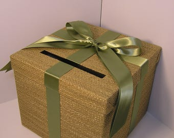 Rustic Wedding Card Box Burlap and Olive Green/Spring Moss  Gift Card Box Money Box Holder--Customize your color