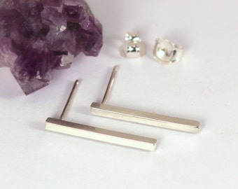 Square Bar Post Earrings, Sterling Silver, Made to Order