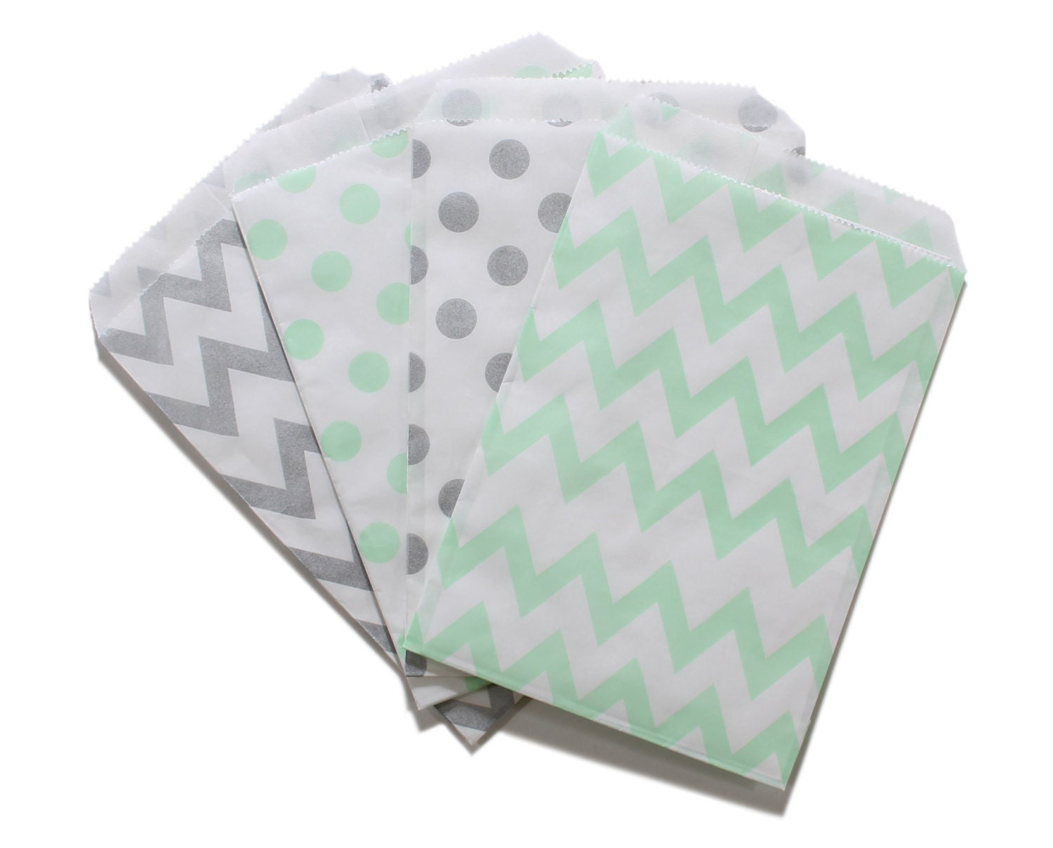 Party Favor Bag Paper Favor Bags Silver and Mint Green Polka
