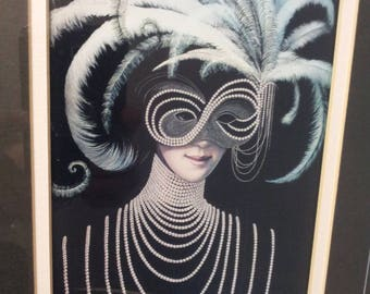 Masquerade Ball Lithography Art Print Black & White Lady with Venetian Mask