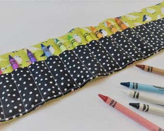Crayon Roll in Little Birds, Holds 16 Crayons