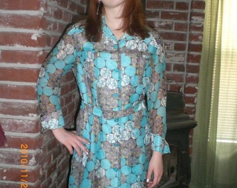 1970s blue school days sheer dress with a mod design of circles and flowers