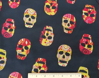 Chiffon Fabric with Skulls Print