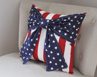 Rustic Front porch decor, 4th of July, Fourth of July, party decor, American flag, home decor, garden decor, holiday decor Patriotic Pillow