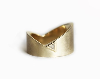 Diamond Ring, Wedding Ring, Statement Ring, Geometric Ring, Large Ring, Wide Ring, 14k Gold Ring, 18k Gold, Trillion, Band, Statement Ring