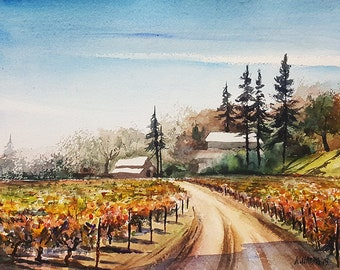 Original Watercolor of Bogel Vineyards