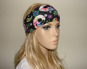skulls yoga headband - black turban headband - workout headband - excercice headband - fitness hair band - Woman boho head wrap