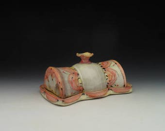 Butter Dish with lid - Red, Yellow and Orange