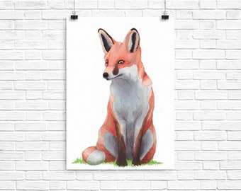 """A Sitting Fox Watercolour Print 14"""" x 11"""""""