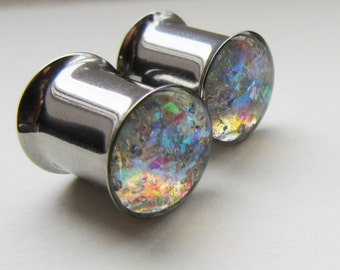 Ear Plugs 8mm / 10mm 0g / 00 gauge 12mm Sparkly Iridescent Ear Tunnels READY TO SHIP