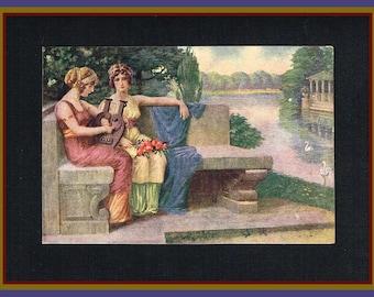 Song of Desire - Original antique postcard by T. Kroj