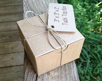"""HALF CASE  • 50  Each  ~ 3"""" x 3"""" x 2""""  Natural Kraft  Tuck Top • Bakery Boxes • Gift Box  -  Cookies • Pastries - Boxes Only"""
