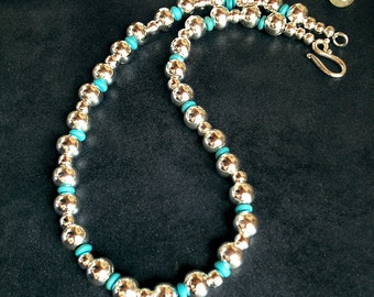 On Sale Now!  Navajo Pearls Bright Silver Finish w Turquoise #123