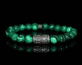 Men's Bracelet, For Men, Bracelet for Men, Green Malachite and Sterling Silver Bracelet, Bead Bracelet Man, Bracelet for Man, Gift for Man