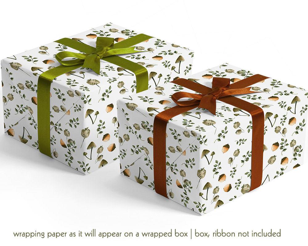 Mushroom Botanical Wrapping Paper Holiday Gift Wrap Individual