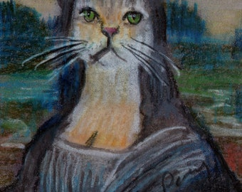 original art  aceo drawing cat antromorphic animal in clothes Mona Lisa
