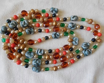 "62"" Long Single Strand Art Glass Bead Flapper Necklace    ND29"