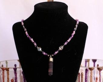 Beaded Necklace || Amethyst Aura