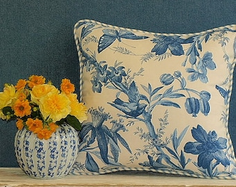 Reversible, Blue and Ivory Floral, 40x42cm Floral Cushion Cover