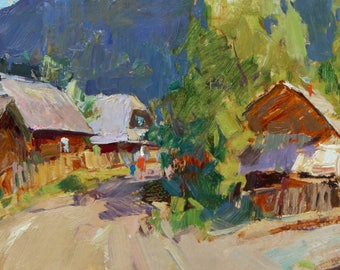 Oil painting, Landscape painting, Rural Landscape, Summer, Sunny