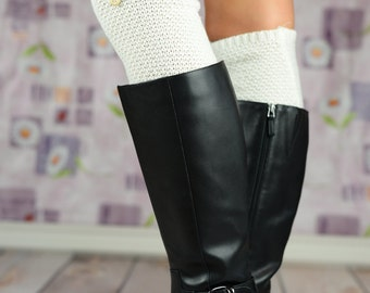 Barrel Knit Boot Cuffs with Button - White