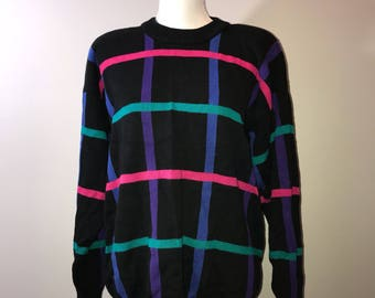 Vintage 80's Multi-color Sweater / size medium / by Nordstrom Town Square