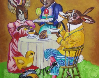 original art painting canvas rabbits dinner table food bunny rabbit hare