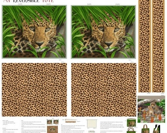 Tote Bag Kit, Leopard Fabric, On The Wild Side - Studio e Fabrics -  4038 - Includes Fabric Panel & Fusible Fleece - DIY Project