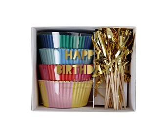 Toot Sweet Happy Birthday Cupcake Kit by Meri Meri, Baking and Candy Making, Cake Decorating, Baking Liners, Toppers & Picks