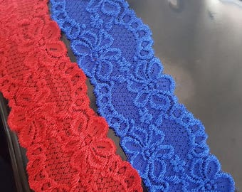 Red Royal blue or Black Stretch Lace trim 2 1/4 inch