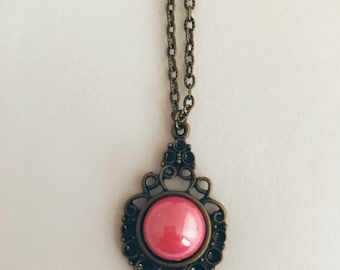 Handmade Vintage Style Steampunk Pink Bubble Bead Bronze Necklace