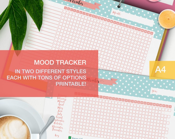 Featured listing image: Mood tracker printable - a4 planner inserts - bullet journal page - medication tracker v4