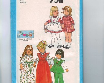 1980s Vintage Sewing Pattern Simplicity 9511 Toddler Girls Pullover Dress and PInafore in Two Lengths and Pants Size 2 Breast 21 1980 UNCUT