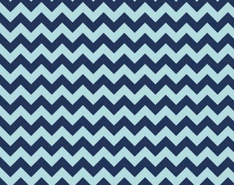 Riley Blake - Small Blue on Blue Cotton Chevron  - by the yard
