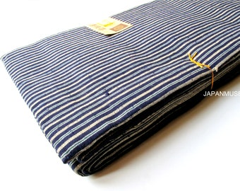 Vintage Japanese Tsumugi Cotton Obi - Stripe Pattern (#14072701)