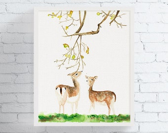 Watercolor Fawn, Fawn Art, Fawn Print, Watercolor Deer, Deer Art, Deer Print, Wildlife Art, Woodland, Nursery Decor, Watercolor Animal Print