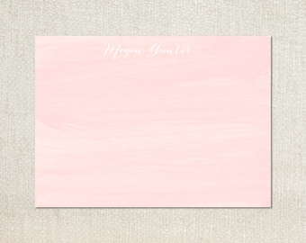 Pink watercolor personalized flat note cards stationery