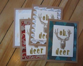 Set of 4 Christmas Cards, Oh Deer