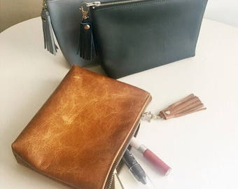 Leather Cosmetic bag / leather make up bag / Leather zipper pouch/ leather makeup bag / black leather / rose gold clutch