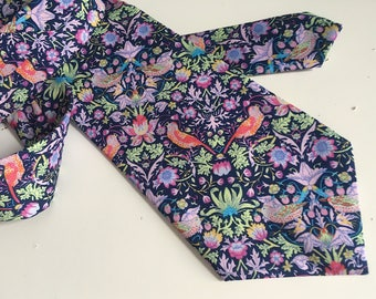Liberty of London Mens Handmade Necktie, Classic Size, Liberty Strawberry Thief Print Tie in Cotton Poplin. Perfect For Wedding
