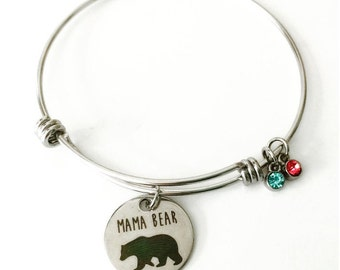 Mama Bear Bracelet, Stainless Steel bracelet, Mom jewelry, Gift for Mom, personalized gift