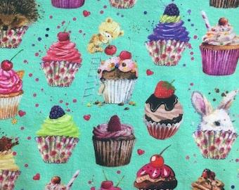 Cupcakes love euro CL knit 1/2 yard cotton lycra knit SALE