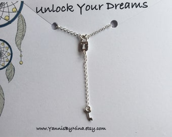 Silver Padlock and Key Pendant