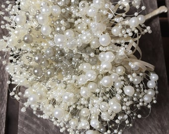 Bubble pearl bridesmaids bouquet in ivory and pale grey beads - pearl bouquet - bouquet - beaded bouquet - wedding flowers - beaded bouquet