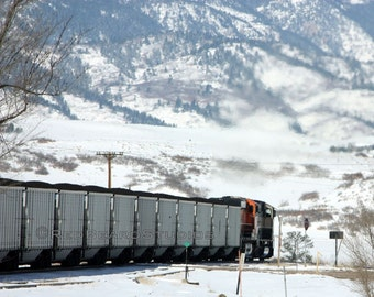 Winter Photography, Train Picture, Digital Download, Coal Train in Winter, Snowy Mountains, Landscape Photography
